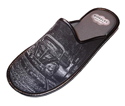 Zapatillas de Estar por casa/Biorelax/Primavera-Verano/Dibujo Coche/Color Gris/Puntera Tapada/con Cámara de Aire/Talla 46: Amazon.es: Zapatos y complementos