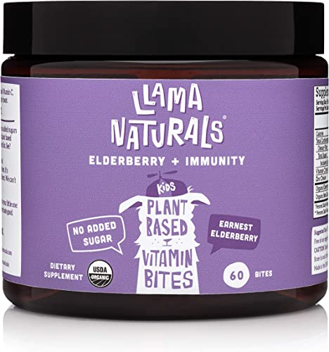 Llama Naturals Organic Elderberry Gummies for Kids, No Added Sugar, Sweeteners or Synthetics Vitamin C, Zinc, Beta Glucan Immune Support for Children 60 Real Fruit Bites 30 Days