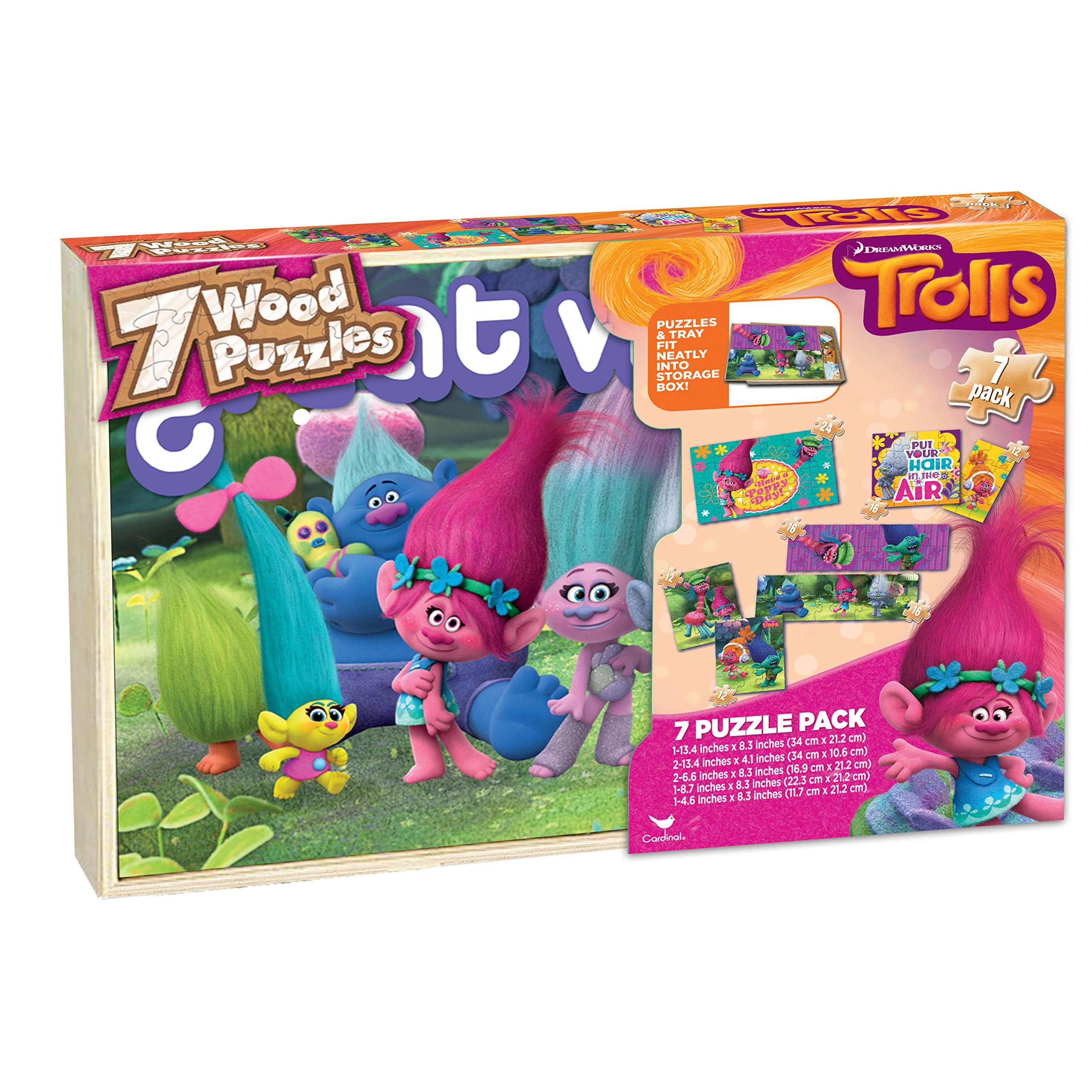 Trolls 7 Wood Puzzles In Wooden Storage Box (styles will vary)