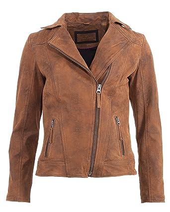 TOM TAILOR Lederjacke 5071002 Hemdkragen Biker Reißverschluss Echtleder  Pork-Leder Polyester Brown Cognac Rose Nude e8383d4577