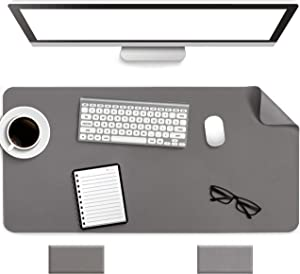 "Non-Slip Desk Pad, Waterproof PVC Leather Desk Table Protector, Ultra Thin Large Mouse Pad, Easy Clean Laptop Desk Writing Mat for Office Work/Home/Decor(Dark Gray, 31.5"" x 15.7"")"