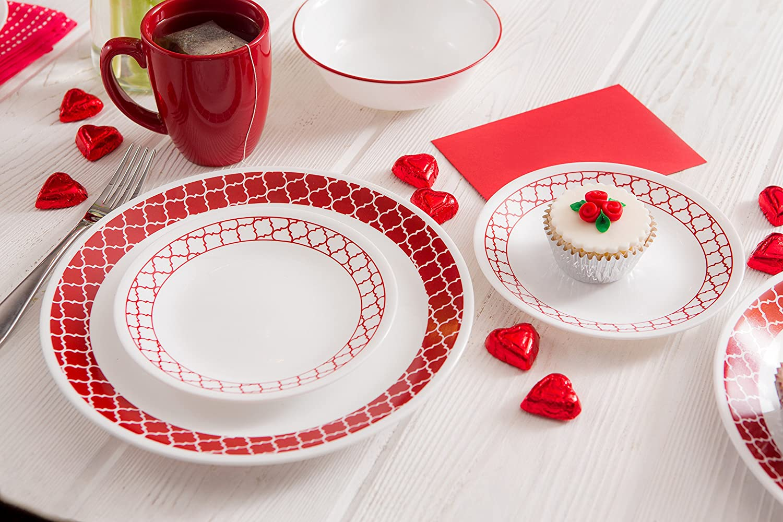 Amazon.com Corelle 16 Piece Crimson Trellis Livingware Dinnerware Set White Kitchen \u0026 Dining & Amazon.com: Corelle 16 Piece Crimson Trellis Livingware Dinnerware ...