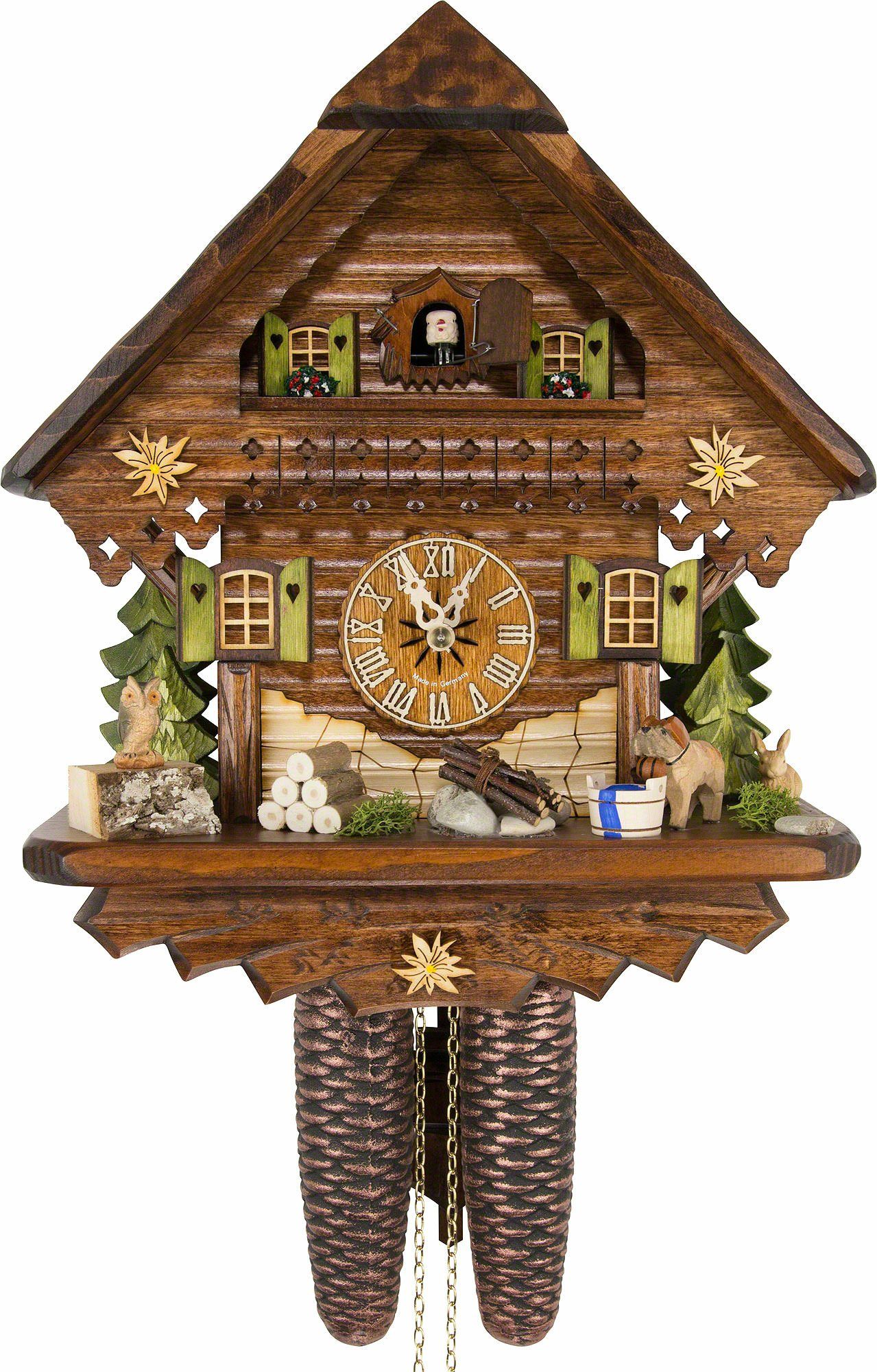 German Cuckoo Clock - Summer Meadow Chalet - BY CUCKOO-PALACE with 8-day-movement - 13 1/3 inches height by Cuckoo-Palace®