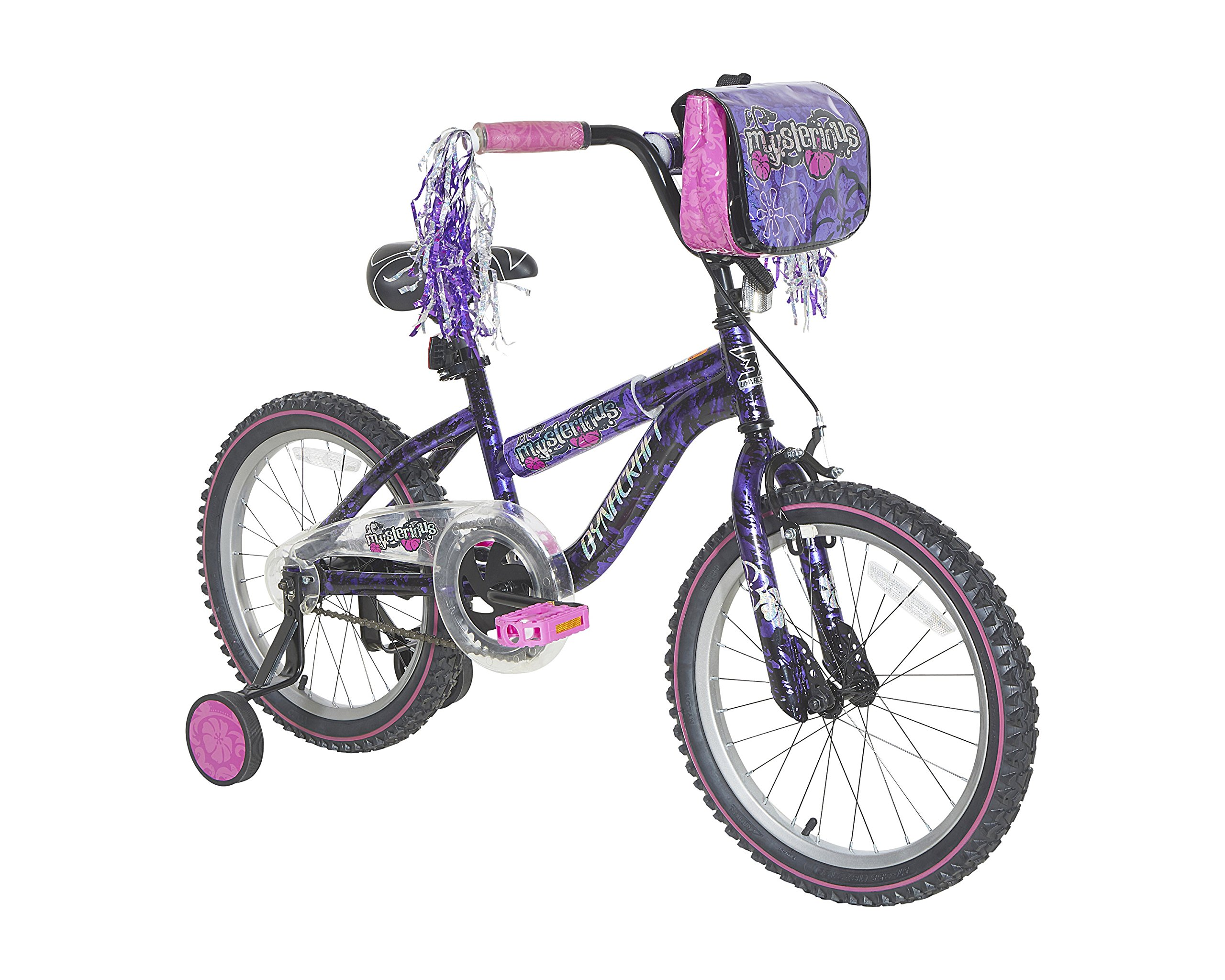 "Dynacraft Mysterious Girls BMX Street/Dirt Bike With Hand Brake 18"", Purple/Black/Pink"