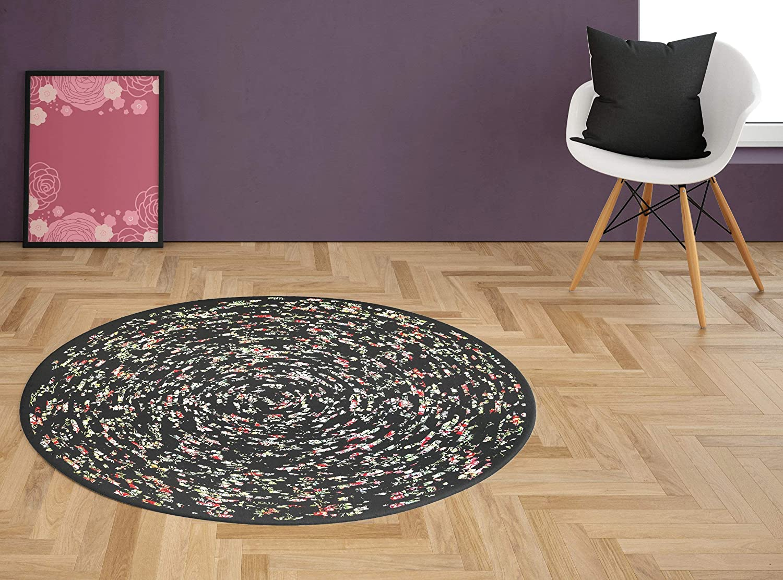 Handmade 42 Round Area Rug Black With Pink And Yellow Pattern Bohemian Chic Handmade