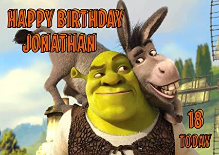 Shrek And Donkey Birthday Card Customized With Your Name Age