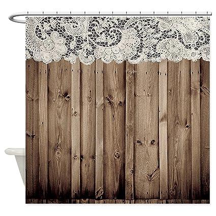 JKYUKO Barnwood White Lace Country Shower Curtain 48quot