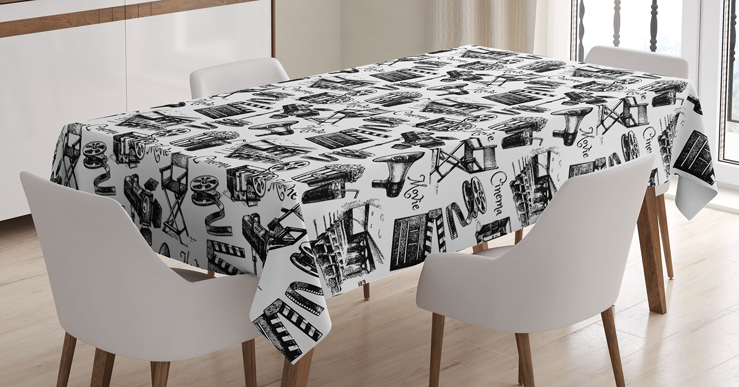 Ambesonne Movie Decor Tablecloth by, Vintage Artful Film Cinema Icons Motion Lighting Camera Action Record Graphic, Dining Room Kitchen Rectangular Table Cover, 60W X 90L Inches, Black White