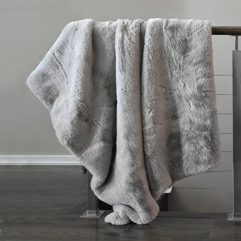 Tahari Mink Faux Fur Throw Luxury Silky Soft Blanket in Cream White (Grey Ice)