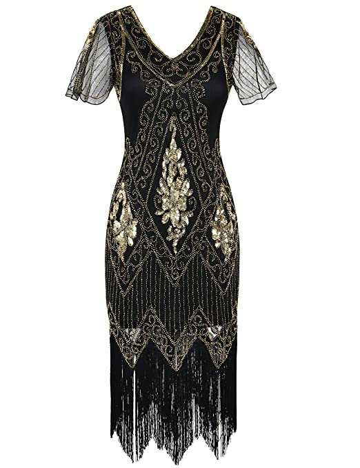 Downton Abbey Inspired Dresses PrettyGuide Womens 1920s Dress Sequin Art Deco Flapper Dress With Sleeve £37.99 AT vintagedancer.com