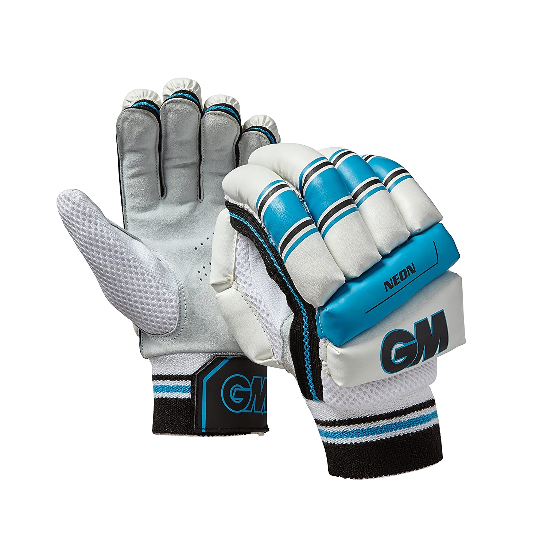 GM Cricket Kids' Neon Batting Glove, Blue, Small