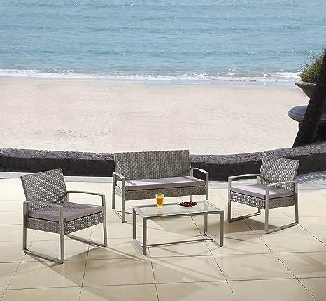 Moderno jardín al aire libre, patio 4 asiento juego de ...