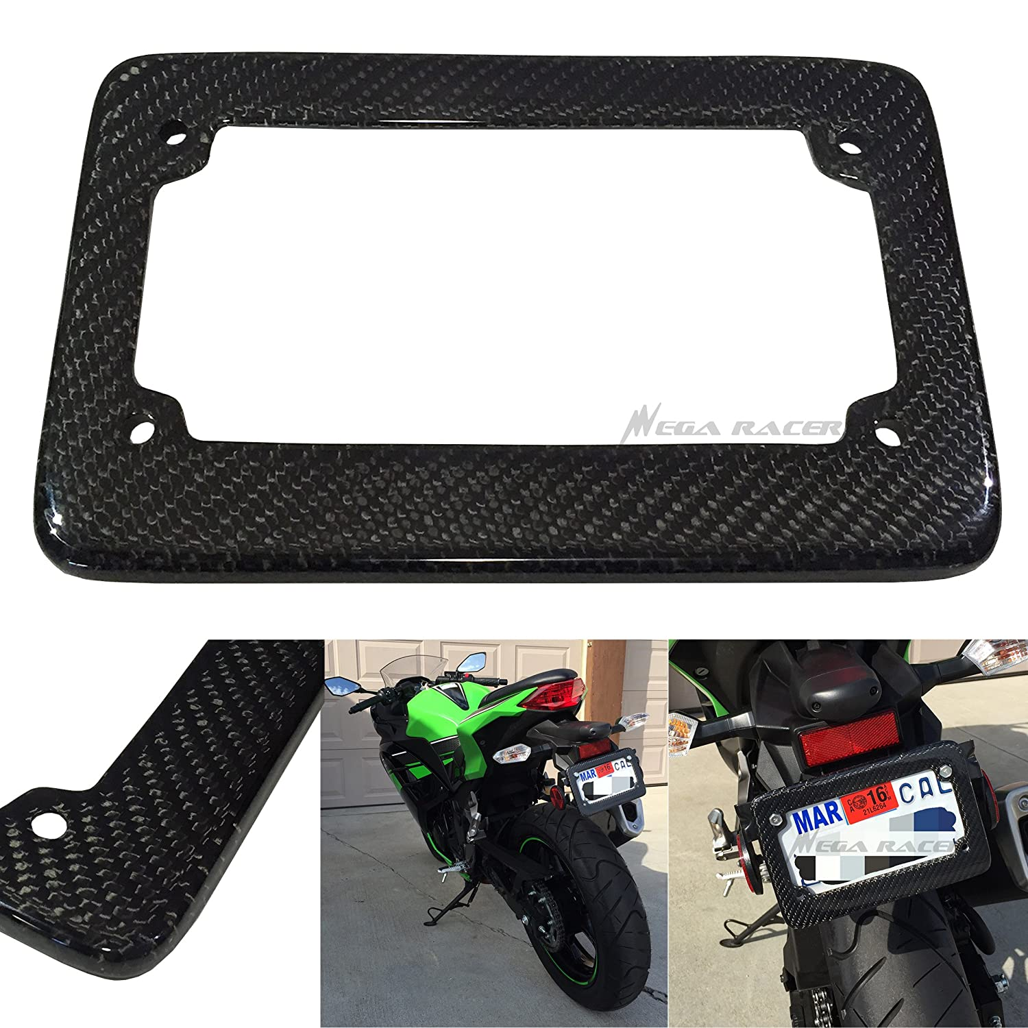 Universal 100% Carbon Fiber Motorcycle Rear License Plate Frame Holder Black 3D Twill Weave Tag USA Scooter Chopper Bike Mega Racer
