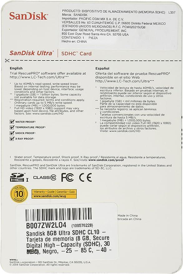 SanDisk Class 10 8GB Ultra SD Card (SDSDU-008G-A11)