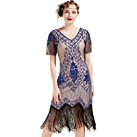 BABEYOND 1920s Art Deco Fringed Sequin Dress 20s Flapper Gatsby Costume Dress