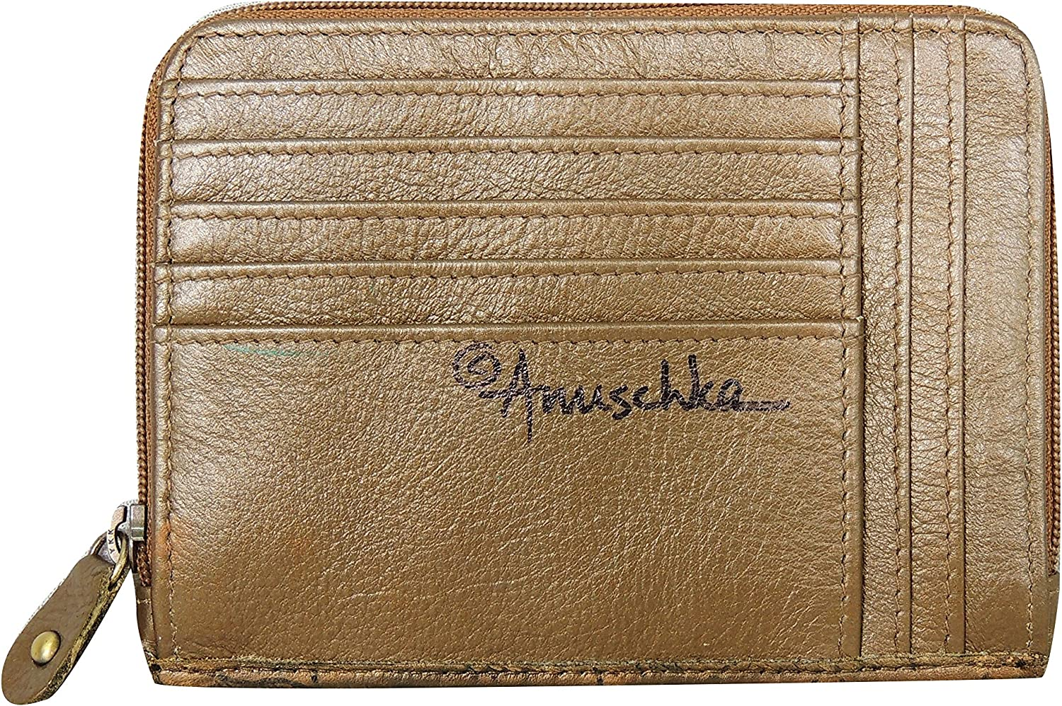 Anuschka Genuine Leather Zip Around Credit Card Case