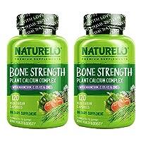 NATURELO Bone Strength - Plant-Based Calcium, Magnesium, Potassium, Vitamin D3, VIT C, K2 - GMO, Soy, Gluten Free Ingredients - Whole Food Supplement for Bone Health - 240 Vegetarian Capsules