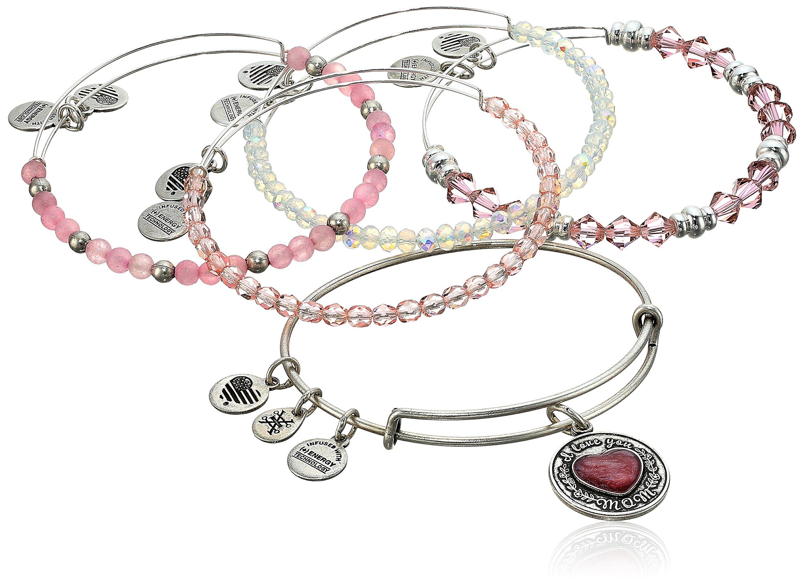 Alex and Ani I Love You Mom Set of Five Rafaelian Silver Bangle Bracelet