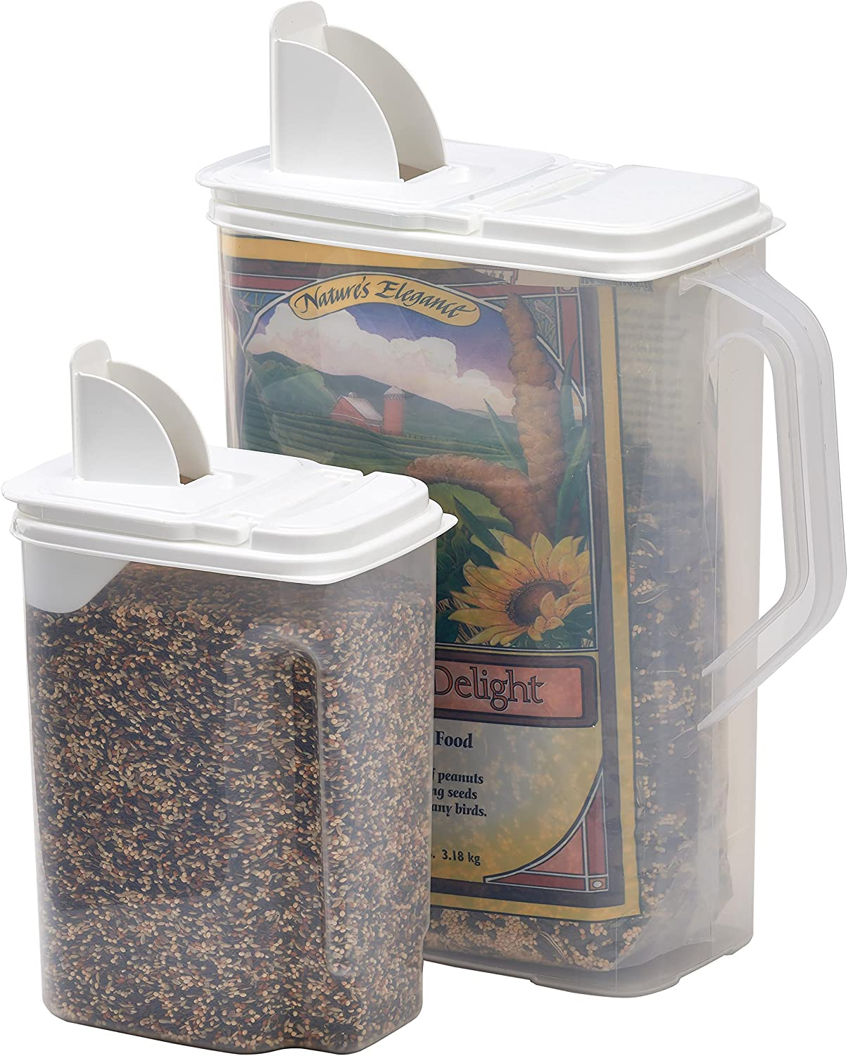 Buddeez 8 Qt and 3.5 Qt Bird Seed Dispenser Set- Set of 2 Containers with Lids