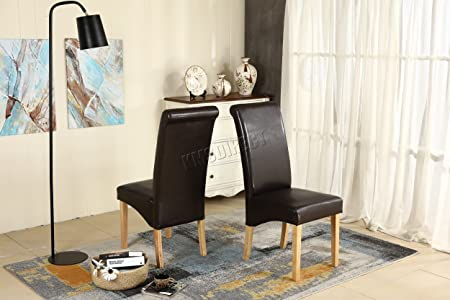 WestWood Furniture Set Of 6 Premium Brown Faux Leather Dining Chairs Roll  Top Scroll High Back