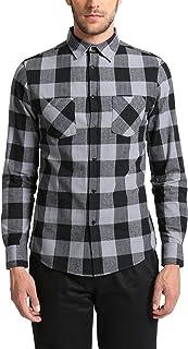 Lower East Chemise à carreaux et longues manches en flanelle pour homme avec un col Kent Summary GmbH (Apparel) LE196