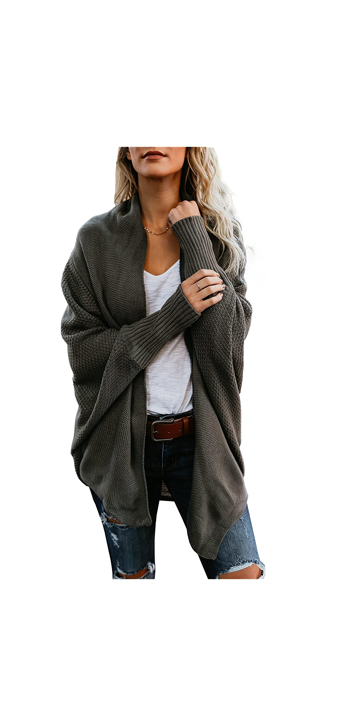 Womens Cardigan Sweaters Oversized Open Front Batwing