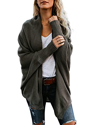 2714abf3256134 Mafulus Womens Cardigan Sweaters Oversized Open Front Batwing Chunky Knit  Outwear Army Green
