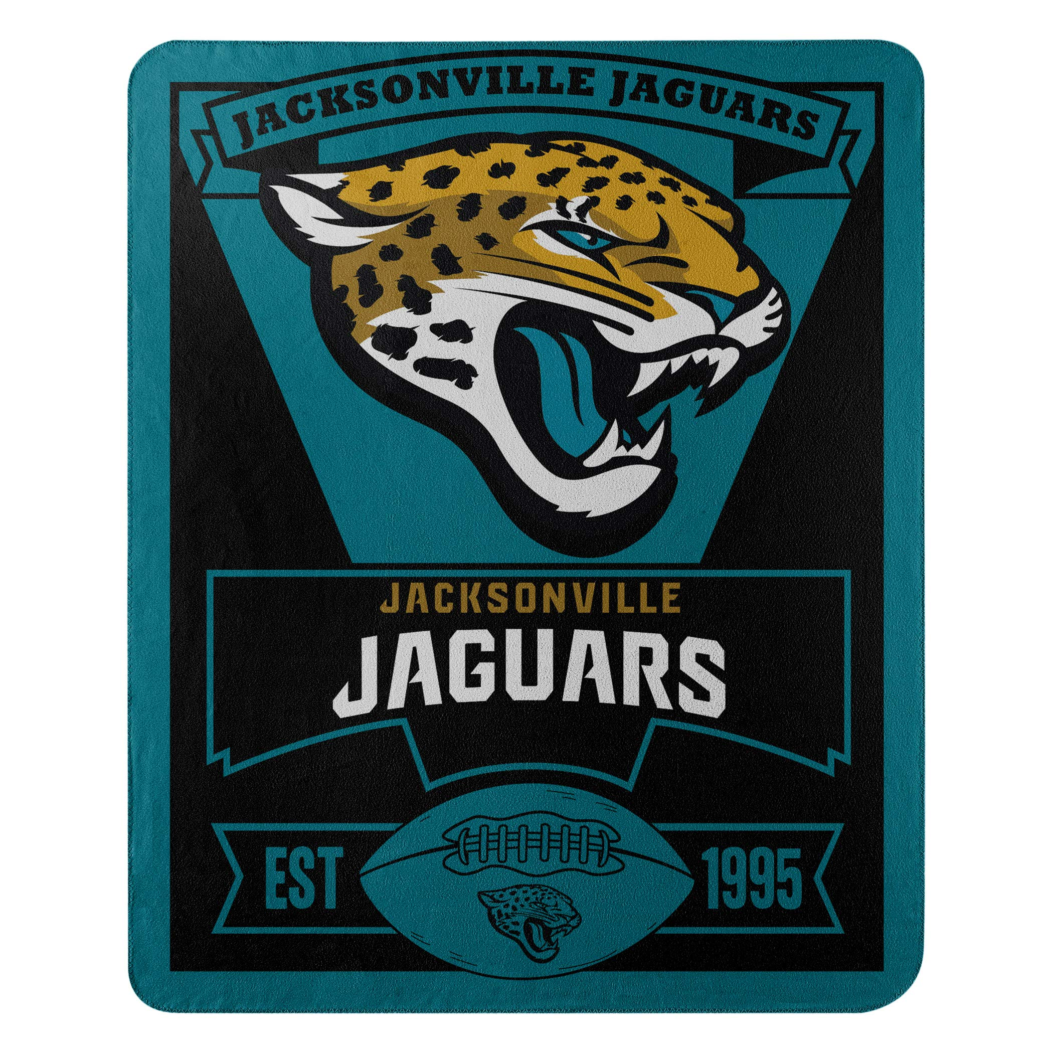 The Northwest Company Officially Licensed NFL Jacksonville Jaguars Marque Printed Fleece Throw Blanket, 50'' x 60'', Multi Color by The Northwest Company