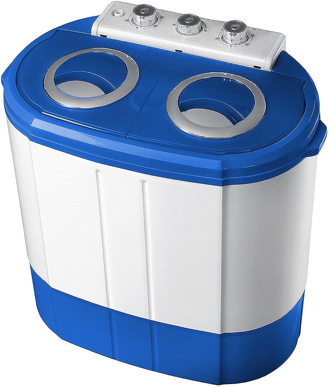 2in1 Mini Waschmaschine | Waschautomat | Camping | Toploader mit Schleuder | bis 3KG (Blau/Weiss) Steinborg