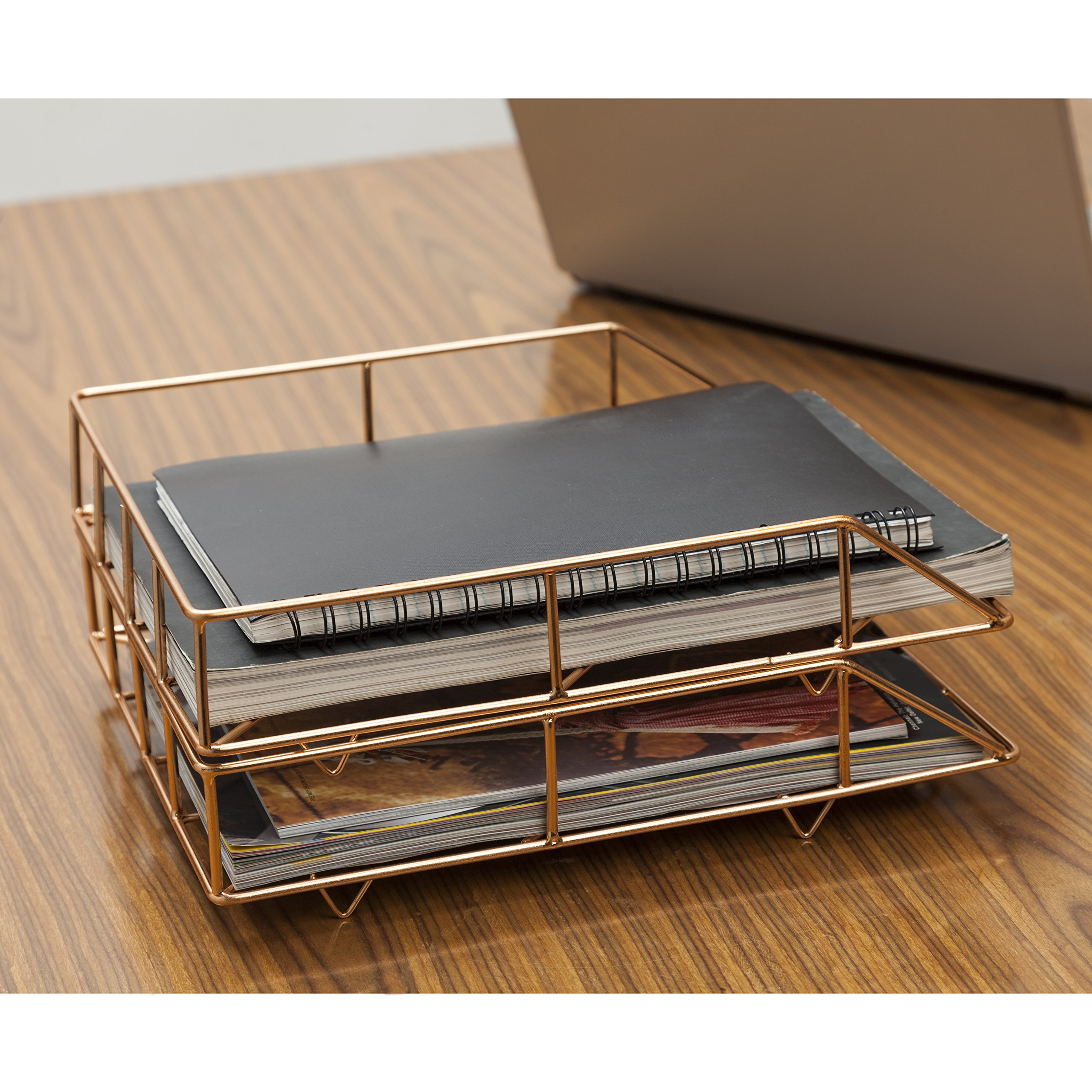 GoCraft Stack Flat File Trays - Copper Metal Wire Horizontal File Folder/ Letter Organizer