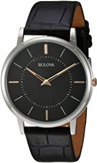Bulova Mens Quartz Stainless Steel and Leather Casual Watch, Color:Black (Model: