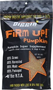 Diggin' Your Dog Firm Up Pumpkin Super Supplement for Digestive Tract Health for Dogs, 4-Ounce