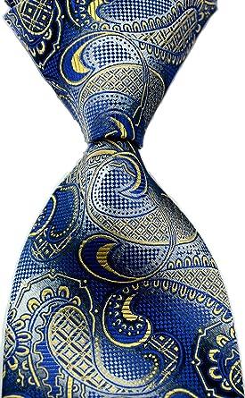 New Classic Patterns Dark Blue Gold JACQUARD WOVEN 100/% Silk Men/'s Tie Necktie