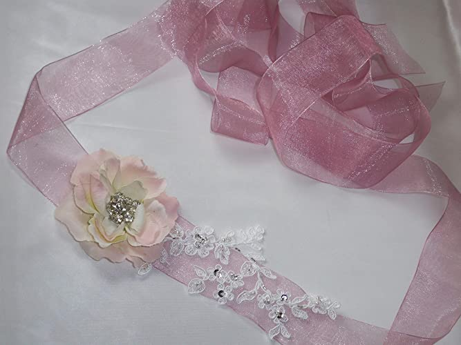 9b9870222b987 Image Unavailable. Image not available for. Color: rhinestone floral and  beaded lace bridal belt sash, pink blush ...