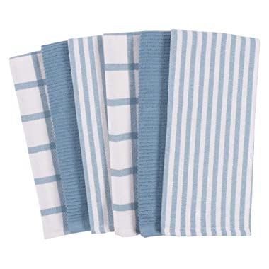 Mixed Flat & Terry Kitchen Towels | Set of 6 18 x 28 Inches | 4 Flat Weave Towels for Cooking and Drying Dishes and 2 Terry Towels, for House Cleaning and Tackling Messes and Spills (Faded Denim)