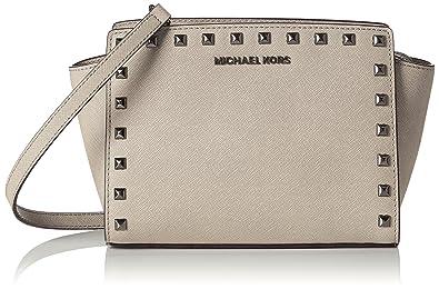 9747ca4e79fe Michael Kors Women's Selma Medium Studded Leather Messenger Shoulder Bag  Off-White (Cement)