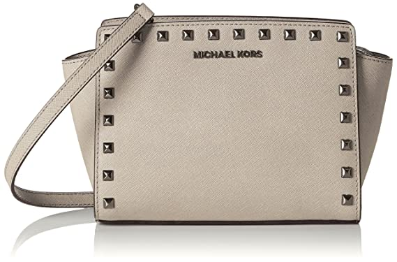 d3e0d6baac Michael Kors Women s Medium Selma Studded Leather Leather Messenger Bag Tote  - Cement
