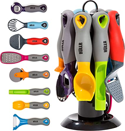 Hullr 9 Piece Kitchen Gadgets Tools Set Pizza Cutter Apple Corer Vegetable Peeler Multifunctional Bottle Opener Cheese Slicer Grater Scoop Slicer With Rotating Stand Amazon Co Uk Kitchen Home