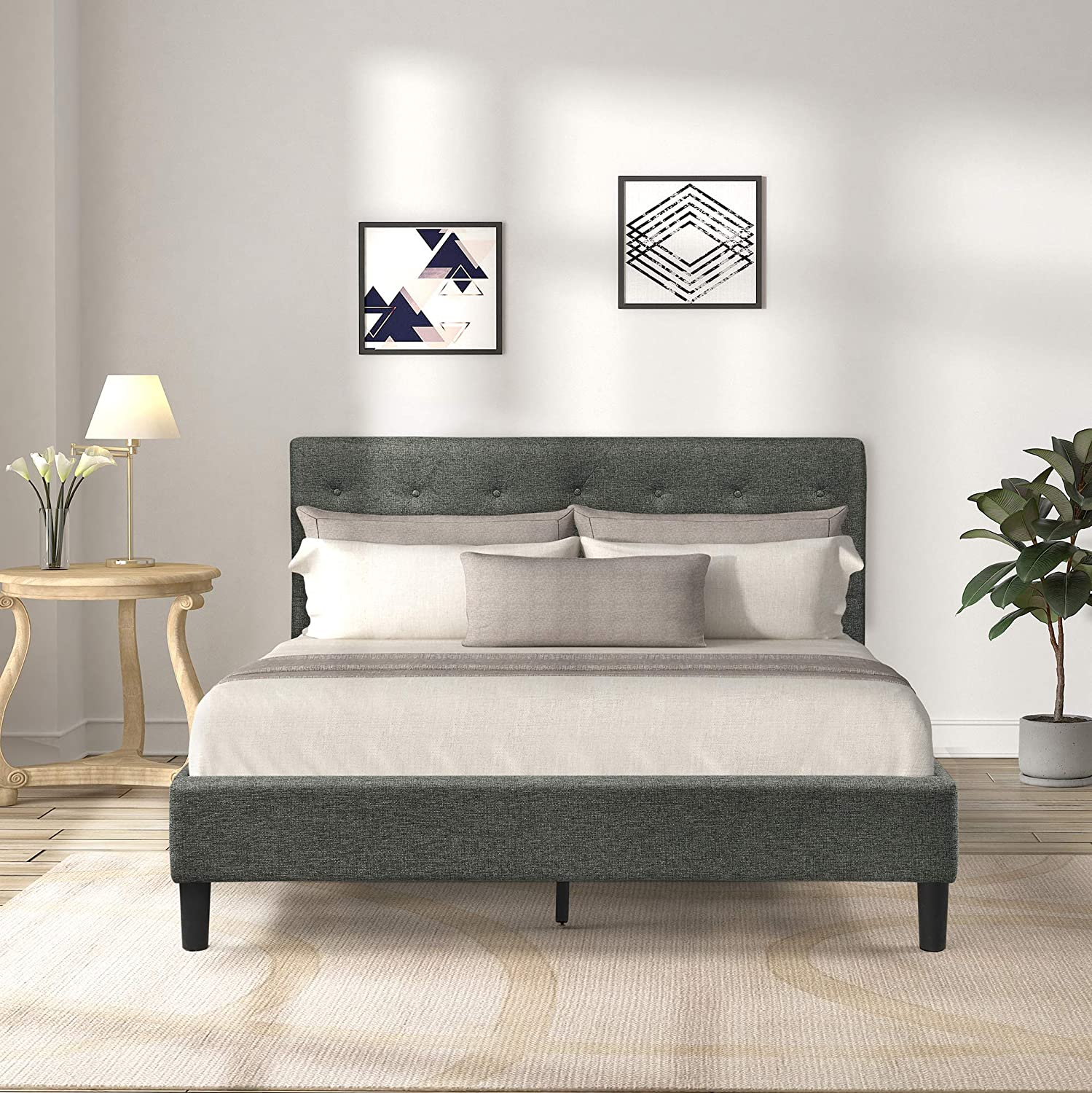 TOV Furniture The Eden Collection Grey Modern Style Velvet Upholstered Bed with Button Tufted Headboard, Queen Size, Grey