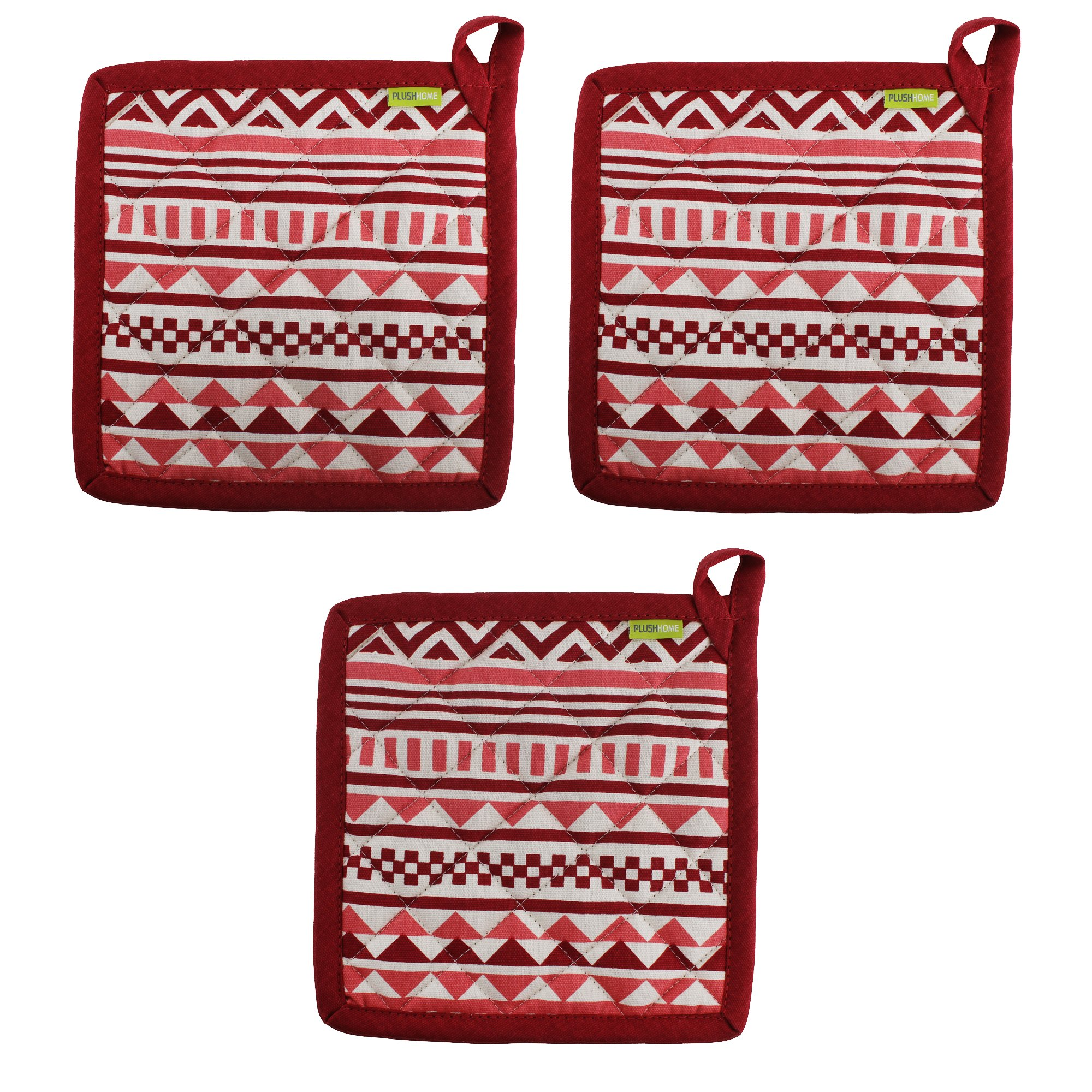 """Set of 3 Pot Holders, 100% Cotton of Size 8""""X8 Inch, Eco-Friendly & Safe, Aztec Design for Kitchen by Plush Home"""
