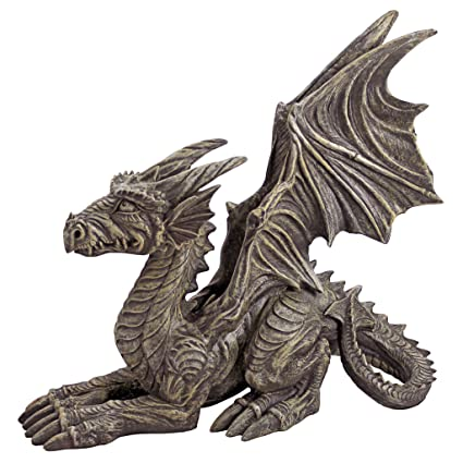 Design Toscano Desmond The Dragon Gothic Decor Statue, 16 Inch, Polyresin,  Greystone