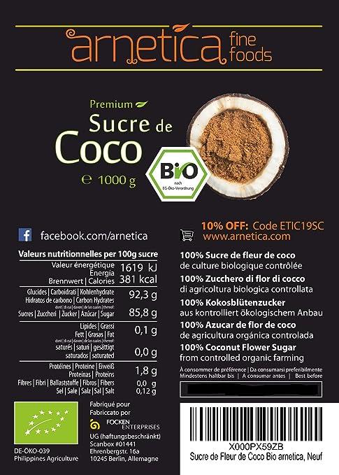Azúcar de Coco Orgánico arnetica, 1000g 1kg Azúcar de Flor de Coco ...