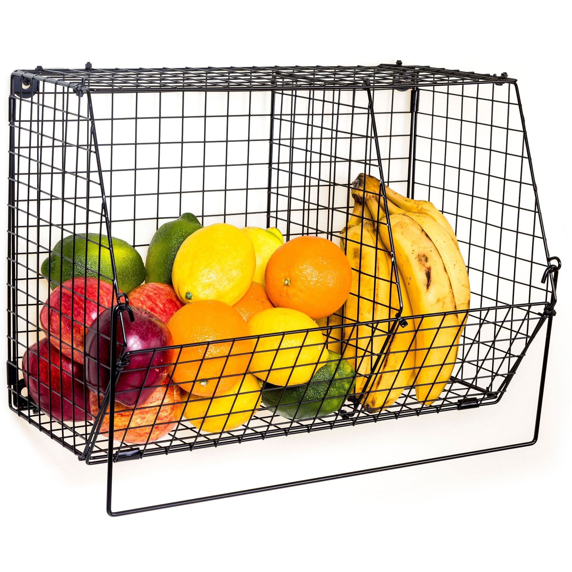 ChasBete Folding Metal Basket Fruit Bowls Organizer Storage Basket Rack Wall Mounted for Kitchen Bathroom