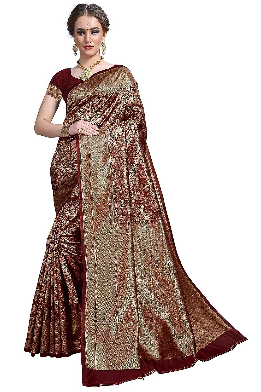 Maroon Color Women's Kanchipuram Silk Saree With Blouse Piece