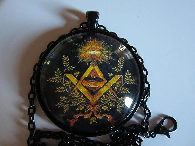 Amazon Mason Masonic Temple Symbol 15 Round Glass Pendant