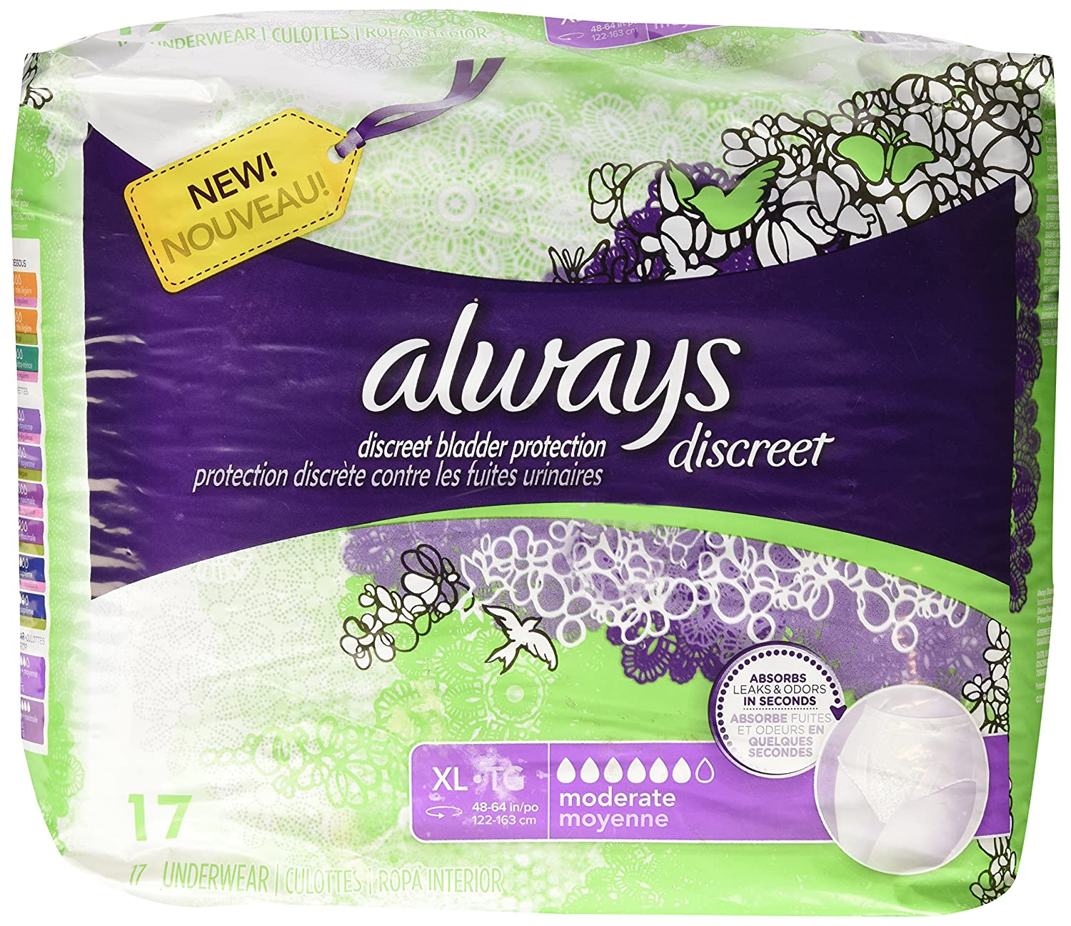 Amazon.com: Always Discreet Incontinence Underwear, XL- 17 ct: Health & Personal Care