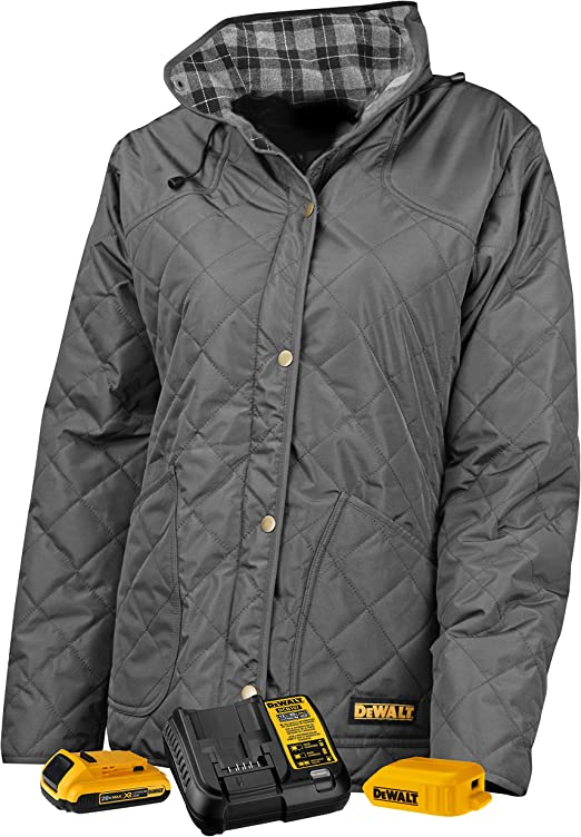 Small DeWALT DCHVL10C1 20-Volt//12-Volt Women/'s Heated Quilted Gray Vest Jacket