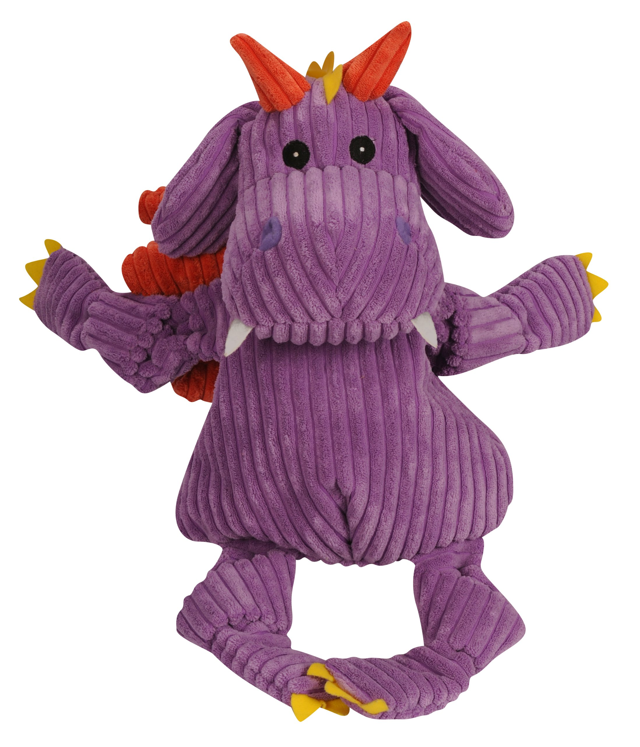 HuggleHounds Puff The Knottie Dragon Squeak Toy, Super Sized, Purple