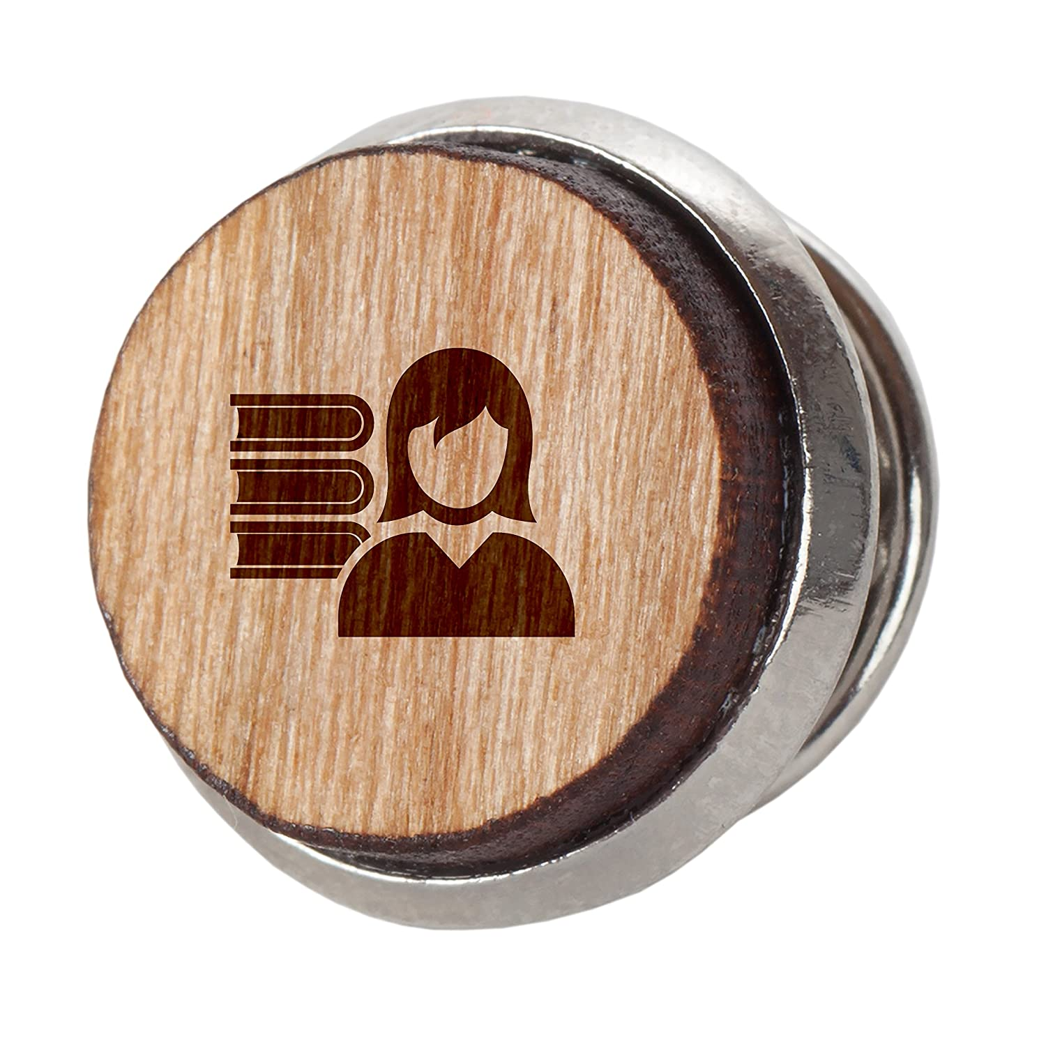 Engraved Tie Tack Gift Librarian Stylish Cherry Wood Tie Tack 12Mm Simple Tie Clip with Laser Engraved Design
