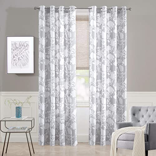 DriftAway Floral Delight Botanic Pattern Room Darkening Thermal Insulated Grommet Unlined Window Curtains Set of 2 Panels Each 52 Inch - a good cheap window curtain panel